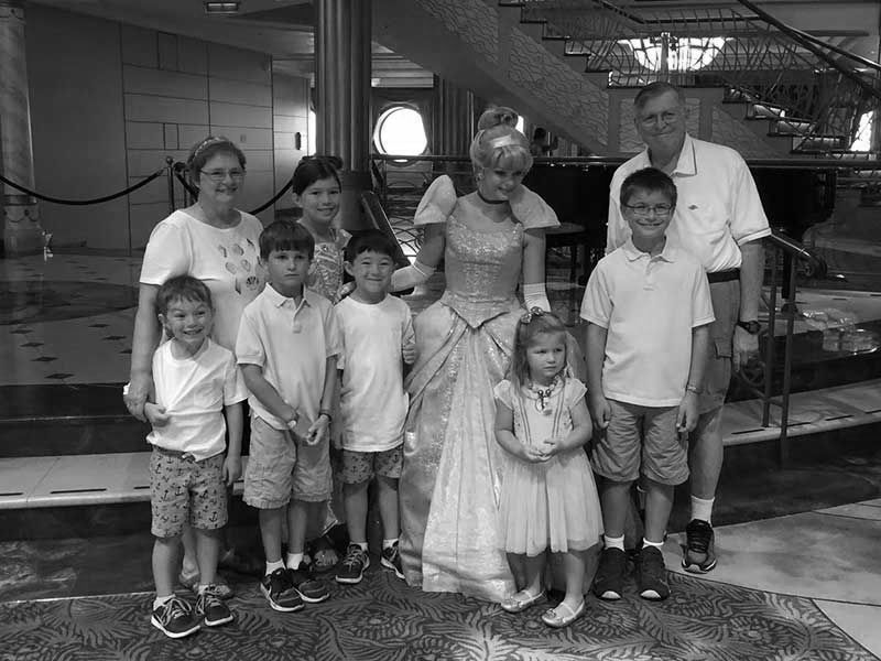David and Maryanna spending time with their grandchildren on a Disney cruise.