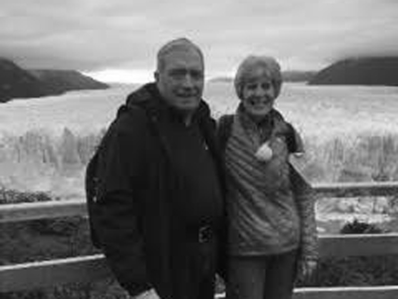 Wayne and Melinda enjoying retirement at Los Glaciares National Park in front of Perito Moreno glacier in Southern Argentina.